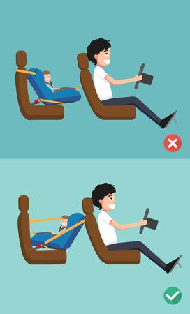 asiento coche: Mejor y peor para el asiento de seguridad del bebé de colocarlo en el coche. ilustración vectorial. Vectores