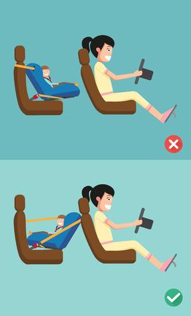 repuestos de carros: Mejor y peor para el asiento de seguridad del bebé de colocarlo en el coche. ilustración vectorial. Vectores