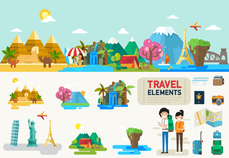 data collection: Travel infographic elements.vector illustration