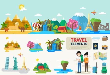 Utazás infographic elements.vector illusztráció Illusztráció