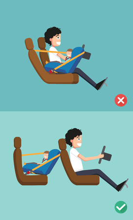 baby isolated: Best and worst for baby safety seat placing it in the car. vector illustration. Illustration