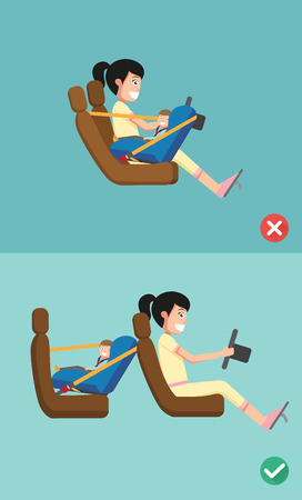 asiento: Mejor y peor para el asiento de seguridad del bebé de colocarlo en el coche. ilustración vectorial. Vectores