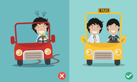 peligro: mal y derecha para no beber y conducir. ilustración vectorial.