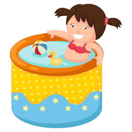 inflatable: A girl in inflatable pool.vector illustration.