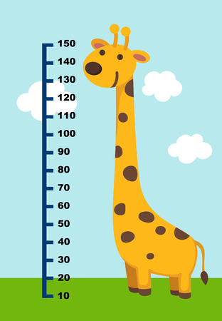 Meter wall with giraffe. vector illustration. Çizim