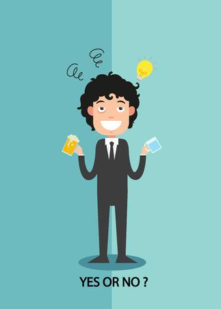 yes or no for businessmen work enthusiasm, illustration,vector