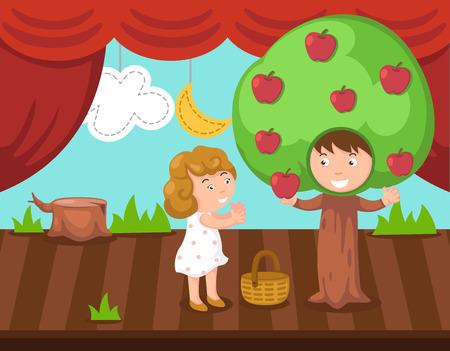 stage costume: Children doing stage drama illustration.vector