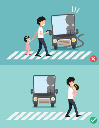 mobile phones: watch your step.man with child on the crosswalk, illustration, vector