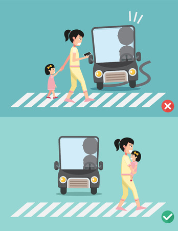 woman driving: watch your step.women with child on the crosswalk, illustration, vector