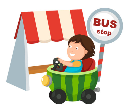 outdoor seating: boy driving a car .vector illustration Illustration
