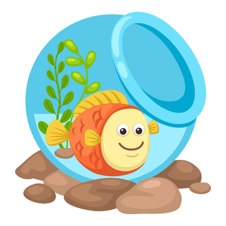 under water grass: fish in a bowl.vector illustration