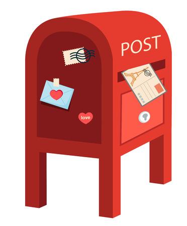 metal mailbox: red post box.vector illustration