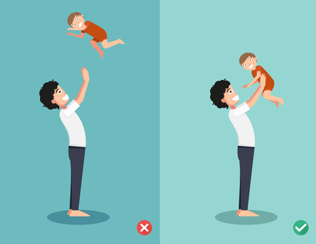 wrong: Right and wrong ways for playing with the baby.vector illustration Illustration