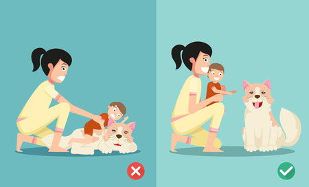 playing: The right and wrong ways for new parents to taking care of the newborn while playing with the dog.vector illustration