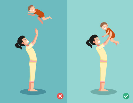 baby mother: Right and wrong ways for playing with the baby.vector illustration Illustration