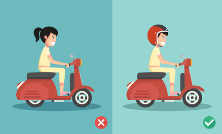 Right and wrong ways riding to prevent car crashes.vector illustration