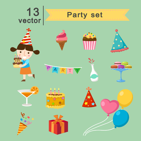 new icon: party set vector illustration