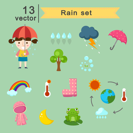 raining: Illustration of raining set vector Illustration
