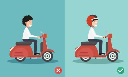 車 crashes.vector 図を防ぐために乗って右と間違った方法  イラスト・ベクター素材