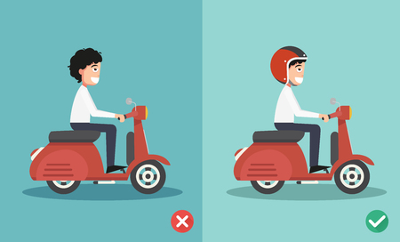 wrong: Right and wrong ways riding to prevent car crashes.vector illustration