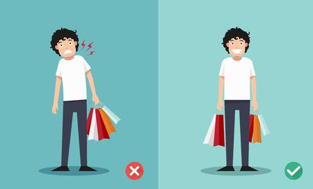 gift accident: wrong and right ways for holding shopping bags illustration, vector