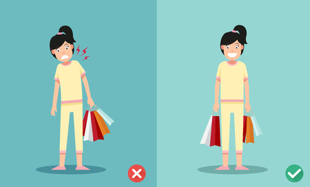 injuring: wrong and right ways for holding shopping bags illustration, vector