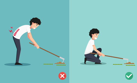 dredge to dig: Best and worst positions for the hoe to dig ground and plant a tree, illustration, vector
