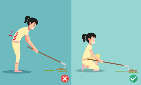 worst: Best and worst positions for the hoe to dig ground and plant a tree, illustration, vector
