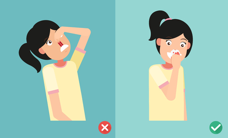 wrong and right for first aid for nasal bleeding, illustration, vector Stock Illustratie