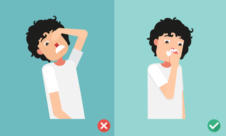wrong and right for first aid for nasal bleeding, illustration, vector  イラスト・ベクター素材