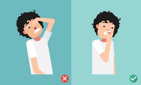 nariz: mal y derecha para primeros auxilios en caso de sangrado nasal, ilustración, vector Vectores