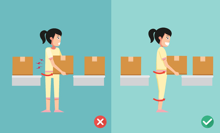 cartoon accident: Improper versus against proper lifting ,illustration,vector