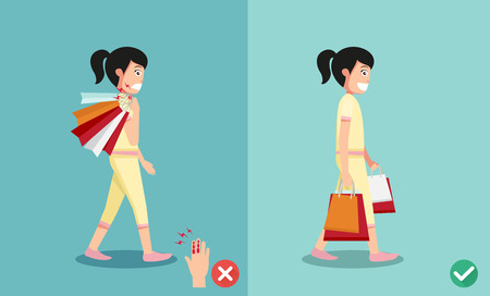 injuring: wrong and right ways for hand holding shopping bags illustration, vector Illustration