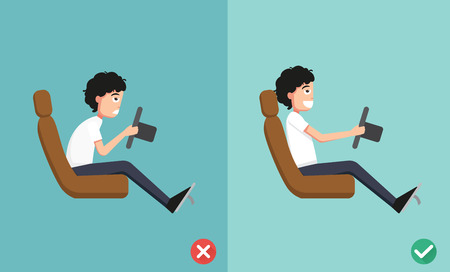 good and bad: Best and worst positions for driving a car, illustration, vector