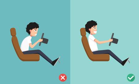 Mejores y peores posiciones para conducir un coche, ilustración, vector Foto de archivo - 49110408
