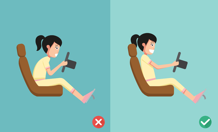 position: Best and worst positions for driving a car, illustration, vector