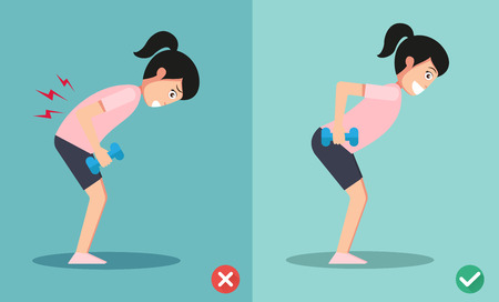 crouch: wrong and right lifting weight posture,vector illustration