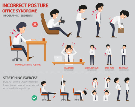 work injury: Incorrect posture and office syndrome infographic,vector illustration