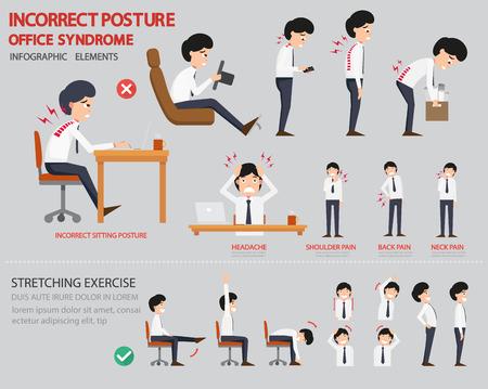 estiramientos: Postura incorrecta y el síndrome de la oficina infografía, ilustración vectorial