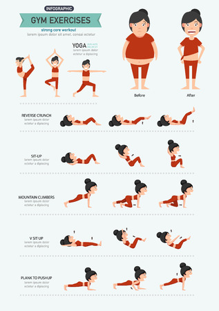 workout gym: gym exercises,strong core workout. illustration, vector
