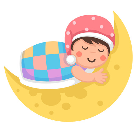 funny baby: Illustration of a boy and the moon in the night