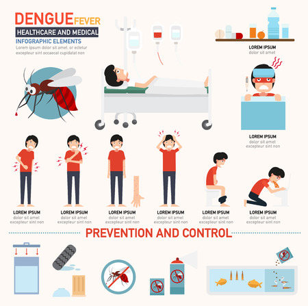 fiebre: Infografía dengue. ilustración vectorial.
