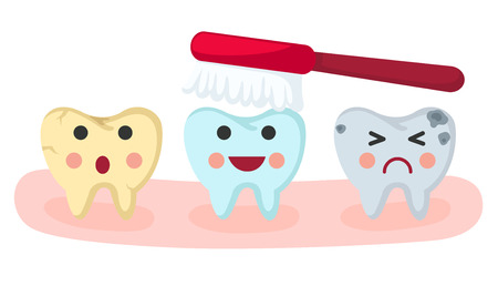 rinsing: teeth care. vector illustration.