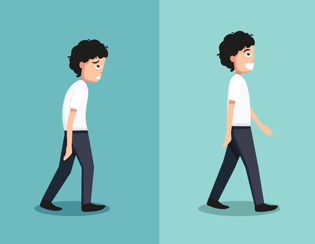 young men: Best and worst positions for walk, illustration, vector