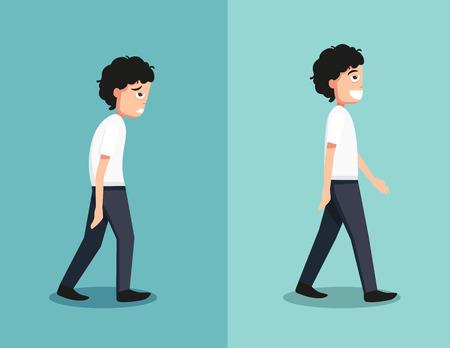 hombre fuerte: Mejores y peores posiciones para caminar, ilustración, vector