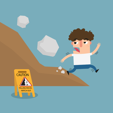 dirt road: falling rock caution sign.vector illustration.