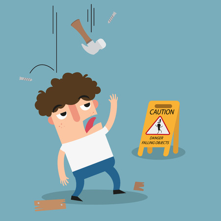 objects: Danger falling objects caution sign.illustration vector Illustration
