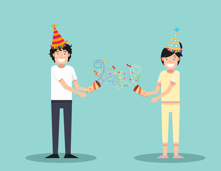 party horn blower: Happy man and woman celebrating vector illustration