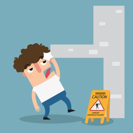 injuries: Danger overhead hazard caution sign.illustration vector