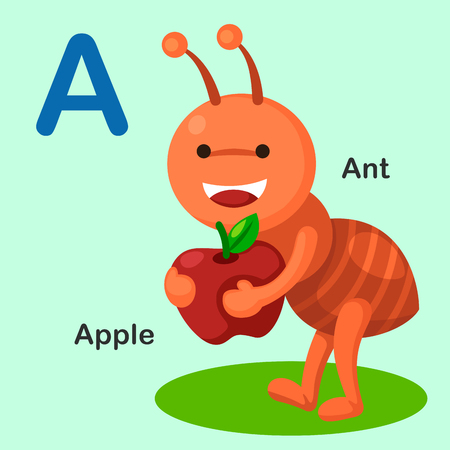 cartoon ant: Illustration Isolated Animal Alphabet Letter A-Ant,Apple.Vector